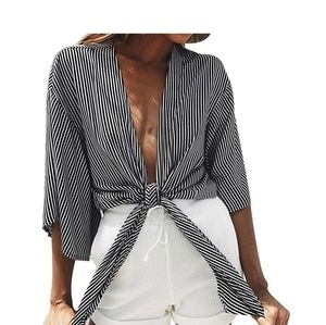Tops - Gray & White Stripe Tie Front Top
